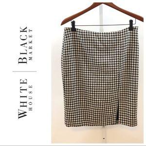 White House Black Market Wool Houndstooth Skirt 8